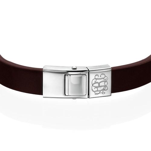 Men's Leather Bracelet with Monogram - 1