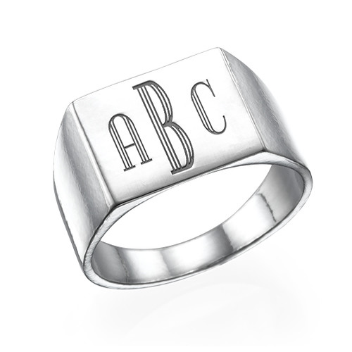 Men's Signet Ring in Silver - Monogram Engraving