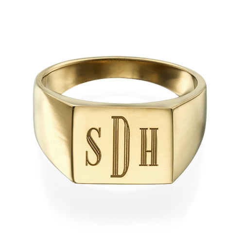 Men's Signet Ring with Gold Plating - Monogram Engraving - 1