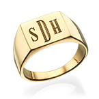 Men's Signet Ring with Gold Plating - Monogram Engraving