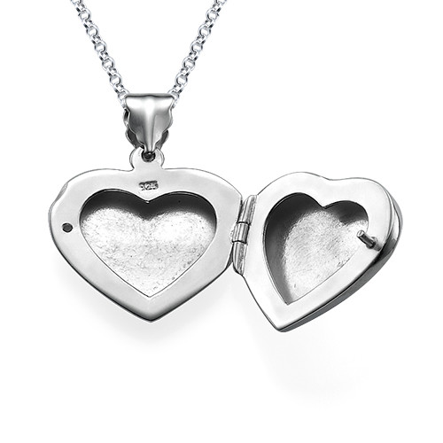 Mini Engraved Heart Locket in Sterling Silver - 1