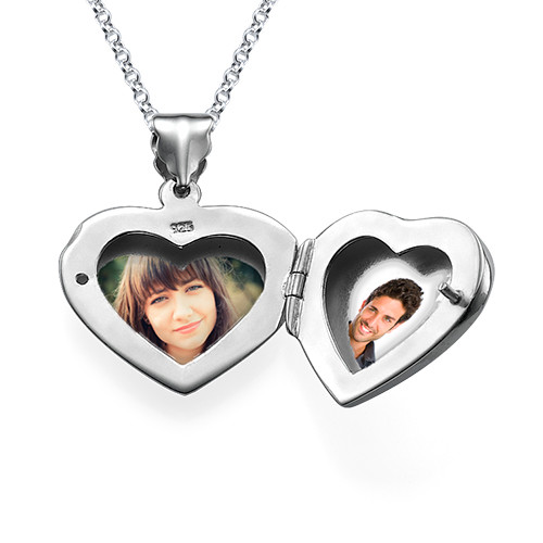 Mini Engraved Heart Locket in Sterling Silver - 2