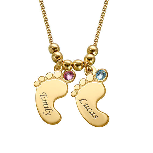 Mum jewellery - Baby Feet Necklace with Gold Plating - 2