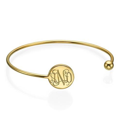 Monogram Bangle Bracelet in Gold Plating - Adjustable