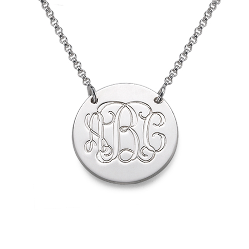 Monogram Disc Necklace in Sterling Silver