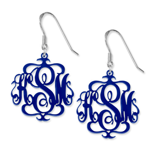 Monogrammed Earrings in Various Acrylic Colours - 1