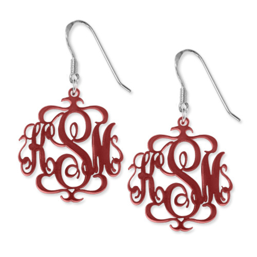 Monogrammed Earrings in Various Acrylic Colours - 2