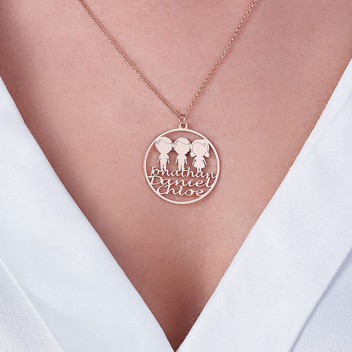 Mother Circle Necklace in Rose Gold Plating - 3