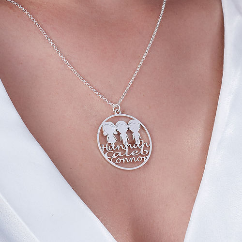 Mother Circle Necklace in Silver Sterling - 3