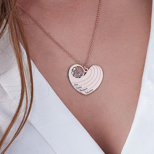 Mother Heart Necklace with Birthstones in Rose Gold Plating - 3