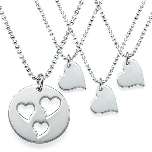 Mother and Daughter Cut Out Heart Necklace Set