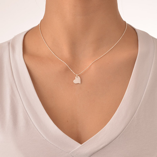 Mother and Daughter Cut Out Heart Necklace Set - 3