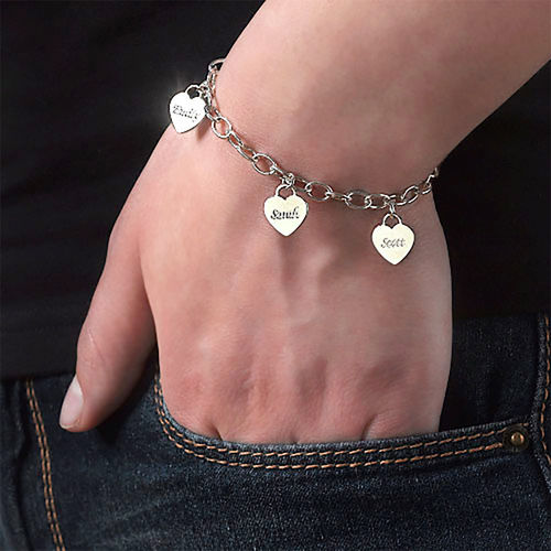 Mum Charm Bracelet with Personalised Hearts - 1