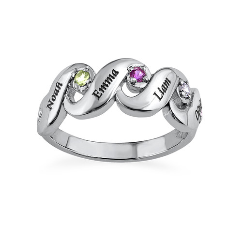 Mother's Ring with Four Birthstones - 1