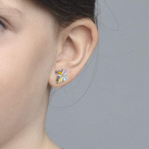 Multicolor Butterfly Wing Earrings for Kids - 1