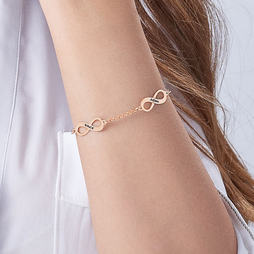 Multiple Infinity Bracelet with Rose Gold Plating - 4