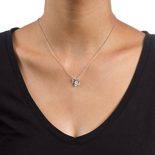 Multiple Initial Necklace in Silver - 2