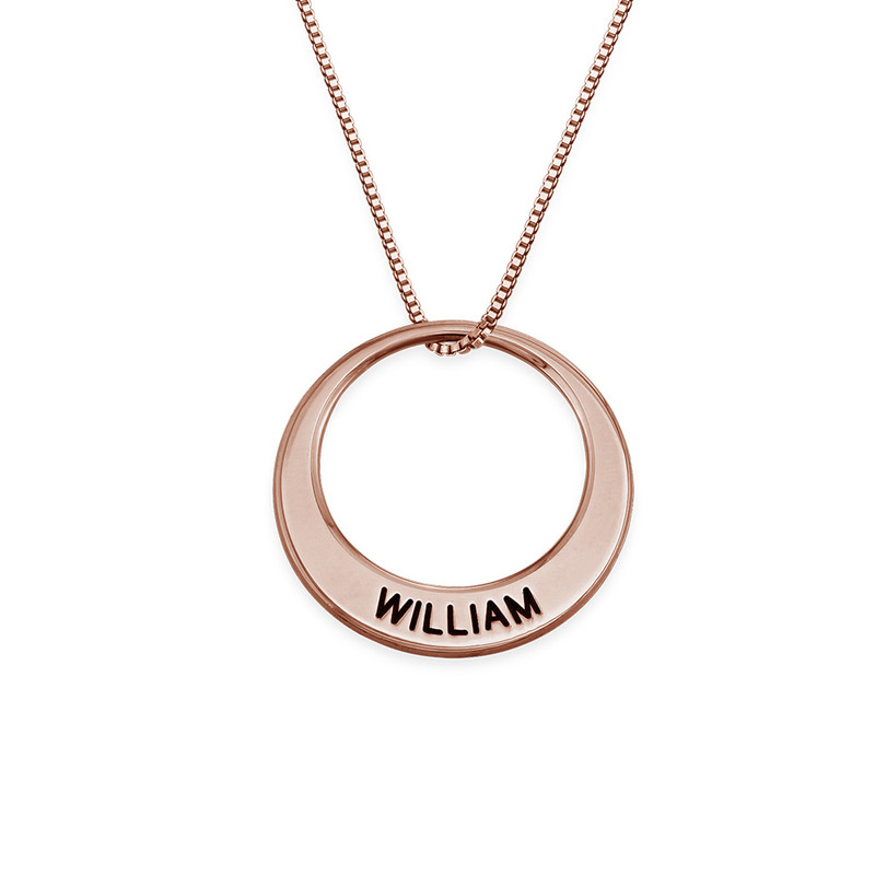 Multiple Ring Necklace in Rose Gold Plating - 1