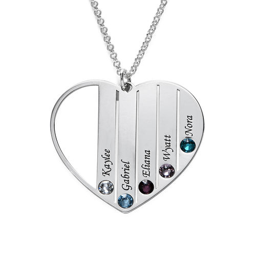 Mum Birthstone necklace in Silver Sterling