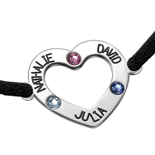 Mum Heart Bracelet with Birthstones - 1