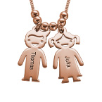 Mummy Necklace with Names in Rose Gold Plating