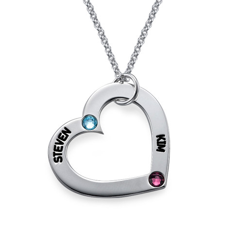 Mum's Birthstone Heart Necklace - 1