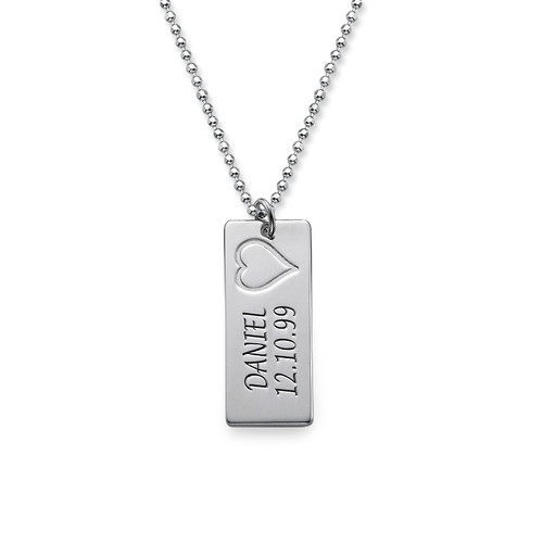 Name Bar Necklace in Silver - 1