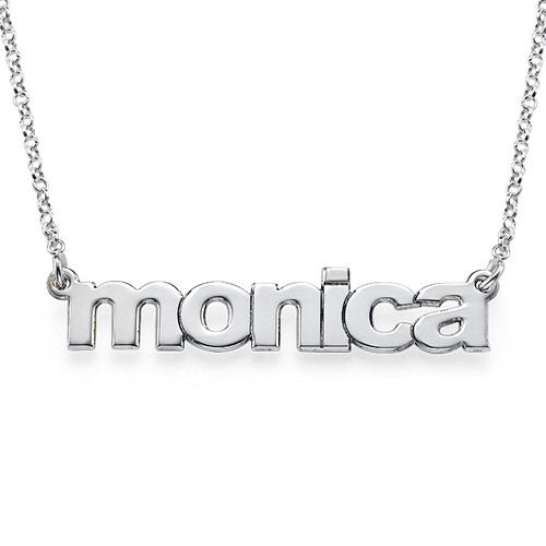 Nameplate Necklace in Lowercase Font