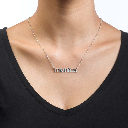 Nameplate Necklace in Lowercase Font - 1