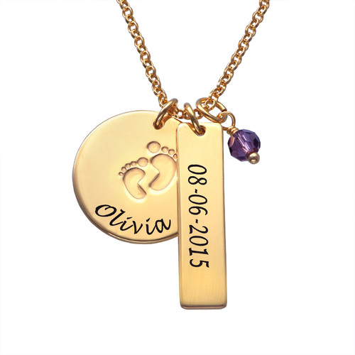 New Mum Jewellery Baby Feet Charm Necklace with Gold Plating