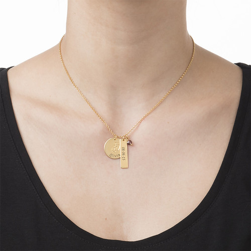 New Mum Jewellery - Baby Feet Charm Necklace with Gold Plating - 1
