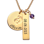 New Mum Jewellery - Baby Feet Charm Necklace with Gold Plating