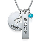 New Mum Jewellery - Baby Feet Charm Necklace