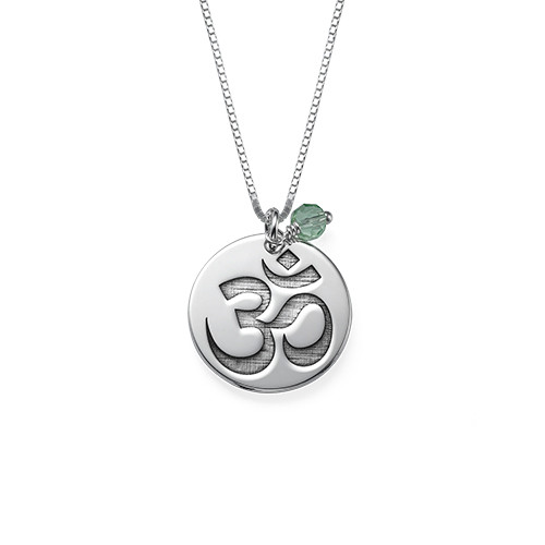 Om Necklace with Engraving and Birthstone