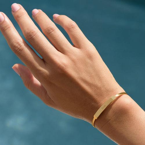 Open Name Bangle Bracelet in Gold Plating - 3