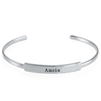 Open Name Bangle Bracelet in Silver