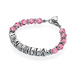 Personalised Baby Charm Bracelet in Pink