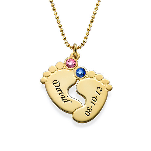 Personalised Baby Feet Necklace in Gold Plating