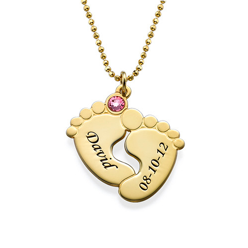 Personalised Baby Feet Necklace in Gold Plating - 1