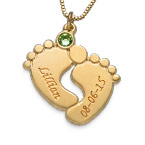 Personalised Baby Feet Necklace with Gold Plating