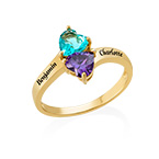Personalised Birthstone Ring with Gold Plating