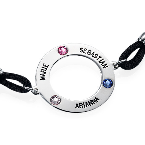 Personalised Circle Bracelet with Birthstones - 1