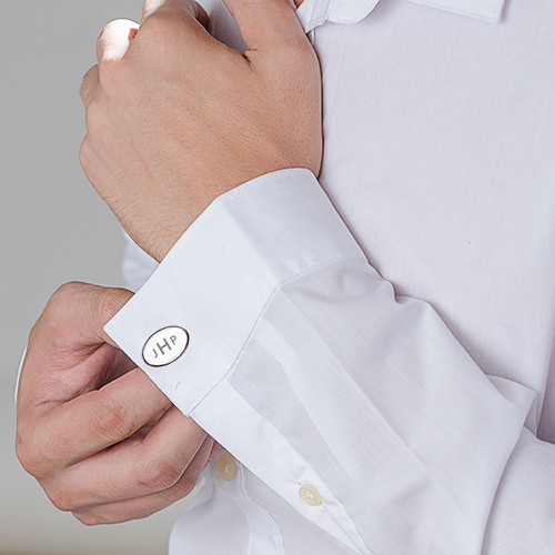 Personalised Cufflinks Plated with Rhodium - 1