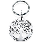 Personalised Family Tree Keyring in Sterling Silver
