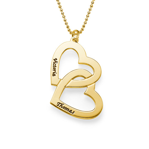 Personalised Gold Plated Heart in Heart Necklace