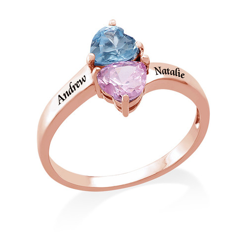 Personalised Heart Shaped Birthstone Ring in Rose Gold Plating - 1