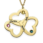 Personalised Triple Heart Necklace in Gold Plating