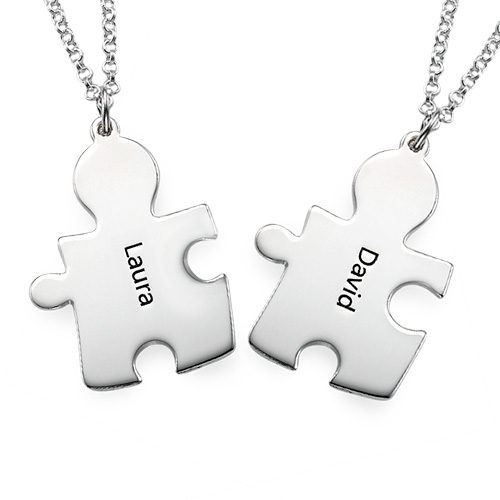 Personalised Silver Couple's Puzzle Necklace