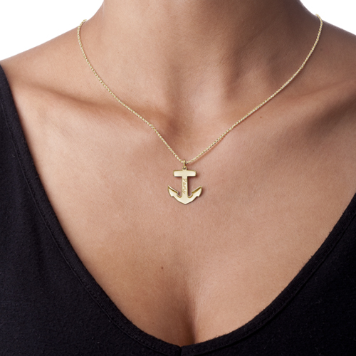 18ct Gold Plated Sterling Silver Anchor Necklace - 1