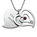 Personalised Couples Birthstone Heart Necklace